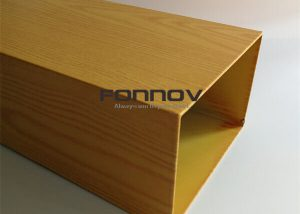 Extruded Aluminum Rectangular Tubing Wood Color For Exterior Facade Louvres fonnov