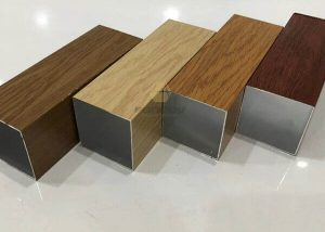 Extruded Aluminum Square Tubing Wood Finish For Facade Cladding fonnov