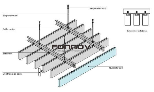 aluminum extrusion baffle ceiling installation1 -fonnov aluminium