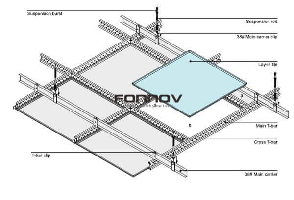 lay in ceiling tiles installation -fonnov aluminium