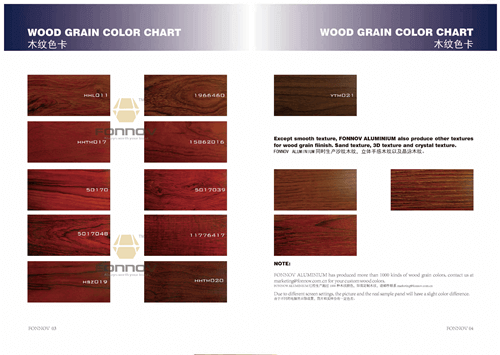 timber look colorchart 1- fonnov aluminium