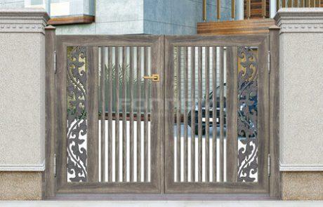 wood aluminum slat fence gate-fonnovaluminium